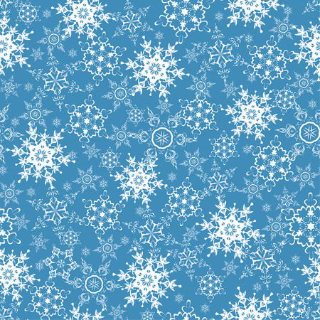 flakes: Beautiful festive blue background seamless pattern with white stylized ornate snowflakes. Luxury winter seamless wallpaper for New Year and Christmas. Modern backdrop. Vector illustration. Illustration