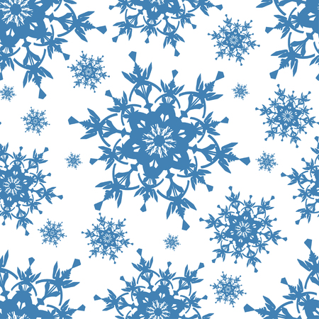winter stylized: Beautiful celebratory white background seamless pattern with blue stylized ornate snowflakes. Luxury winter seamless wallpaper for New Year and Christmas. Stylish backdrop. Vector illustration. Illustration