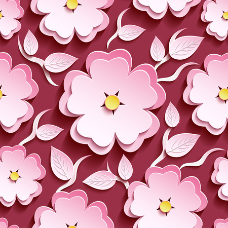 Trendy romantic maroon background seamless pattern with pink-white ornate 3d flower sakura - japanese cherry tree, branch and leaf. Floral stylish modern wallpaper. Vector illustration
