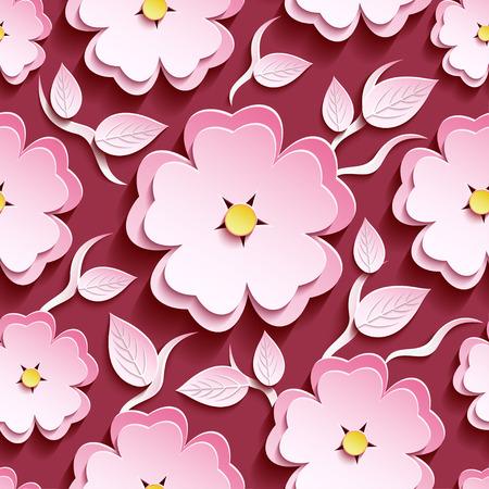flor de sakura: Fondo marrón romántico sin fisuras patrón de moda con blanco-rosado adornado 3d sakura flor - árbol de cerezo japonés, rama y hoja. Papel pintado moderno estilo floral. Ilustración vectorial