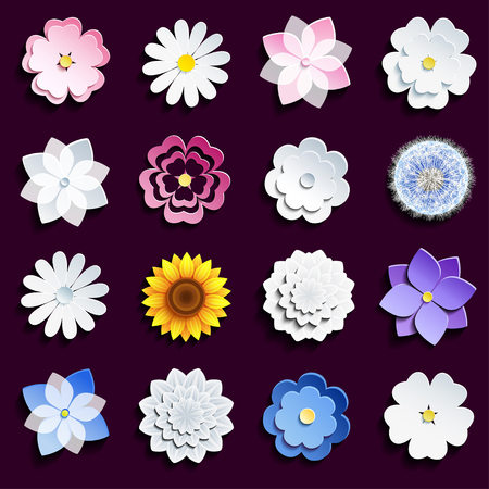 Set of stylish modern spring and summer 3d flowers isolated on dark background. Collection of stylized pink and white sakura blossom - japanese cherry tree, chamomile, sunflower, dahlia, dandelion. Elements of floral design, icons flowers. illustration