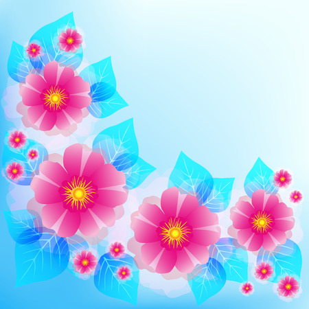 life events: Festive romantic light blue background with pink flowers and leaves. stylish floral wallpaper. Greeting or invitation card for wedding, birthday and life events with place for text. illustration Illustration