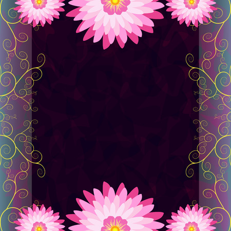 purple flowers: Vintage luxury dark background with pink - purple flowers and golden swirls for greeting or invitation card, cover, menu, presentation, anniversary, announcement. Romantic retro wallpaper. Rectangular vertical frame, place for text. illustration Illustration