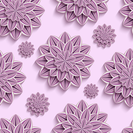 3d flower: Beautiful trendy nature background seamless pattern with ornate purple, violet summer 3d flower