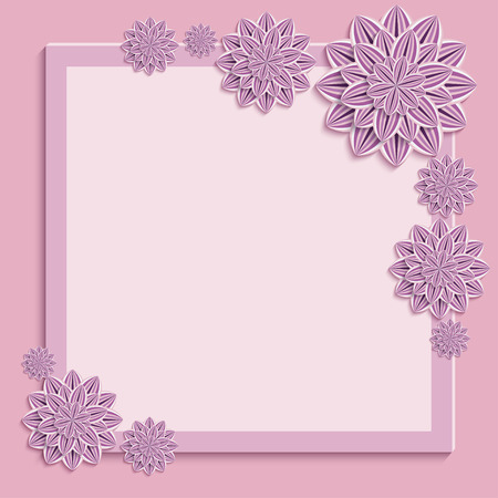 3d flower: Floral square pink frame. Beautiful trendy nature background with 3d flower Illustration