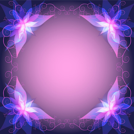 glowing: Decorative luxury frame with abstract pink - violet flowers lilies. Beautiful invitation or greeting card with place for text. Ornamental floral wallpaper.