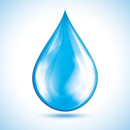 gota: gota de agua azul brillante aislado en el fondo blanco. objeto de la naturaleza, elemento de diseño de icono. Vectores