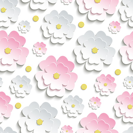3d flower: Beautiful modern nature background seamless pattern with pink and white stylized 3d flower sakura - japanese cherry tree and yellow circles cutting paper. Floral stylish trendy wallpaper. Illustration