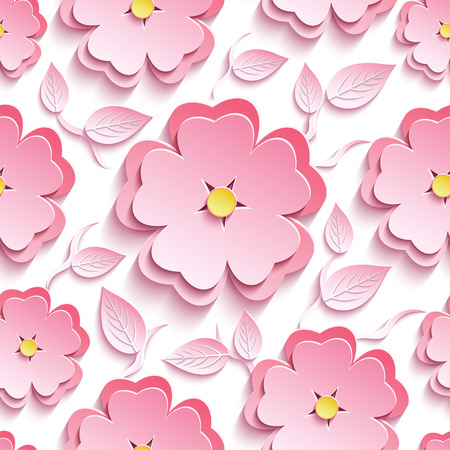 Trendy background seamless pattern with pink 3d flower sakura - japanese cherry tree, branch and leaf cutting paper. Floral stylish modern wallpaper.