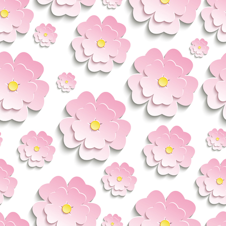 3d flower: Beautiful modern nature background seamless pattern with pink stylized 3d flower sakura - japanese cherry tree cutting paper. Floral stylish trendy wallpaper. Vector illustration