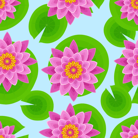 beautiful flowers: Beautiful nature seamless pattern with pink lotus and leaves. Floral bright background with stylized waterlily flower. Trendy stylish wallpaper. Vector illustration