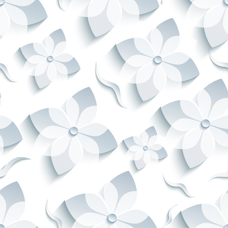 asian gardening: Light trendy background seamless pattern with white - grey 3d flower sakura - japanese cherry tree and leaf cutting paper. Floral stylish modern wallpaper. Vector illustration