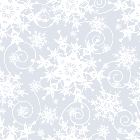 ornate swirls: Winter grey background seamless pattern with white ornate stylized snowflakes and swirls. Seasonal light festive wallpaper for New Year and Christmas. Vector illustration.