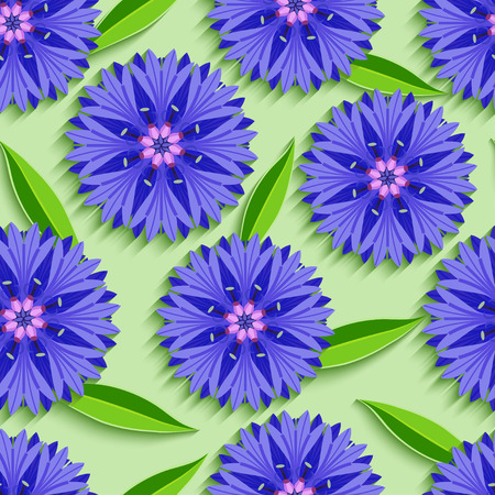 Trendy nature green seamless pattern with 3d cutting paper cornflowers and leaves. Floral bright background with summer flowers. Modern stylish wallpaper. Vector illustration