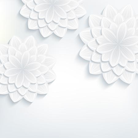 Bloemen trendy achtergrond met witte en grijze gestileerde 3d bloemen chrysant snijden papier. Mooie stijlvolle, moderne behang. Groet of uitnodiging kaart voor huwelijk, verjaardag. vector illustratie