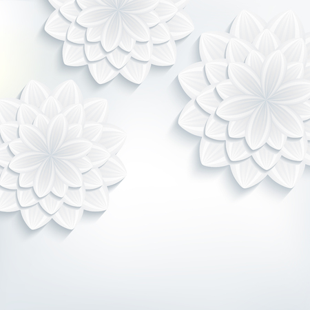 wedding background: Floral trendy background with white and grey stylized 3d flowers chrysanthemum cutting paper. Beautiful stylish modern wallpaper. Greeting or invitation card for wedding, birthday. Vector illustration