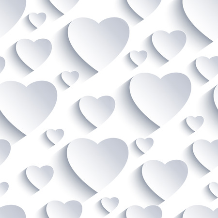 love wallpaper: Stylish Valentines day background seamless pattern with white and grey 3d hearts cutting paper. Beautiful abstract modern wallpaper. Romantic love card. Vector illustration.