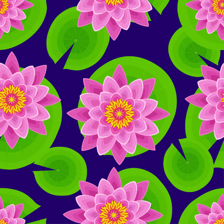 Beautiful nature seamless pattern with pink lotus and leaves. Floral dark background with stylized waterlily flower. Trendy stylish colorful wallpaper. Vector illustration