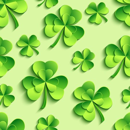 irish landscape: Stylish st. Patricks day seamless pattern with green stylized 3d leaf clover cutting paper. Spring nature background. Floral trendy modern wallpaper. Vector illustration Illustration