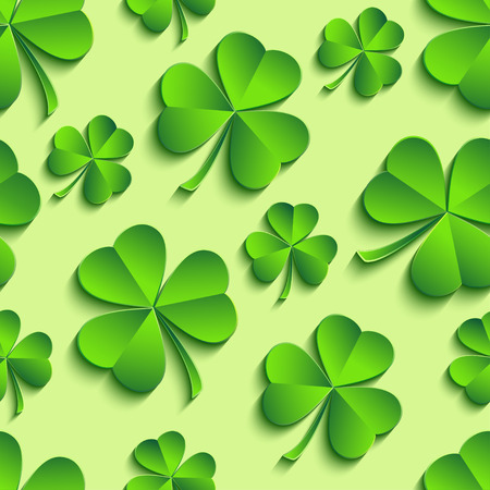 Beautiful trendy st. Patricks day seamless pattern with green 3d leaf clover cutting paper. Spring nature background. Floral stylish modern wallpaper. Vector illustration Illustration