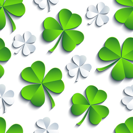 Modern st. Patricks day background seamless pattern with green, white, grey stylized 3d leaf clover cutting paper. Spring nature backdrop. Floral trendy stylish wallpaper