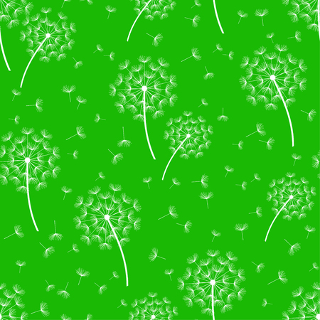 Beautiful nature green background seamless pattern with white dandelion fluff. Floral seamless pattern with summer or spring flowers. Stylish trendy wallpaper. Vector illustration
