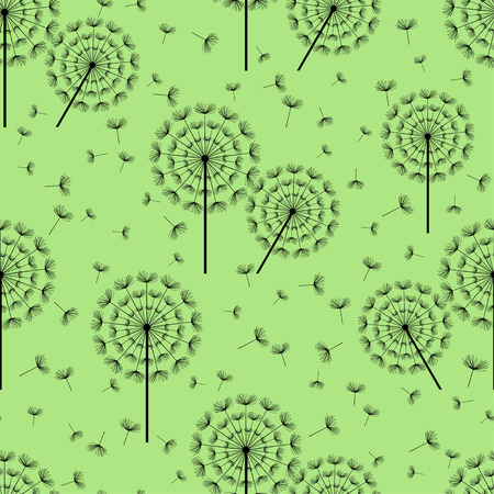 fluff: Beautiful green seamless pattern with black stylized dandelion fluff. Floral background with summer or spring flowers. Stylish trendy nature wallpaper. Vector illustration Illustration