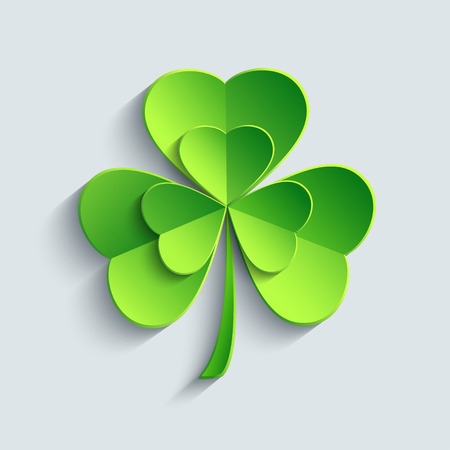 Stylish modern St. Patricks day card with green 3d leaf clover cutting paper. Stylized shamrock isolated on grey background. Beautiful trendy wallpaper. Vector illustration