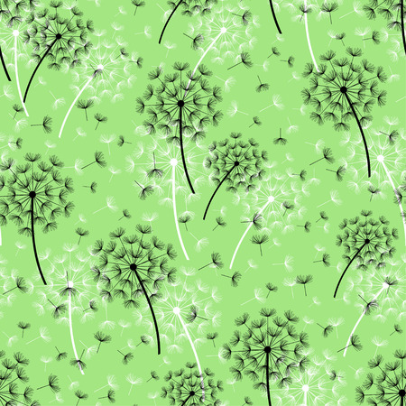 fluff: Beautiful nature green background seamless pattern with black, white dandelion and flying fluff. Floral seamless pattern with summer or spring flowers. Stylish trendy wallpaper. Vector illustration Illustration