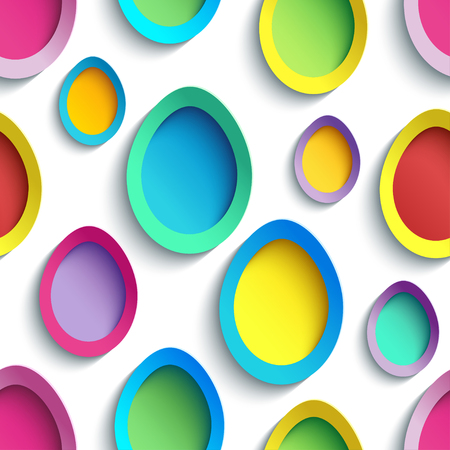 modern wallpaper: Abstract trendy creative seamless pattern with colorful 3d Easter egg cutting paper. Festive vibrant background. Beautiful modern stylish wallpaper. Vector illustration