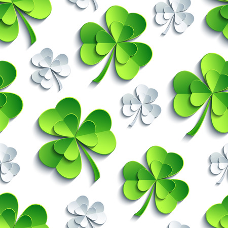 irish landscape: Modern stylish st. Patricks day background seamless pattern with green, white, grey stylized 3d leaf clover cutting paper. Spring or summer nature backdrop. Floral trendy wallpaper. Vector illustration