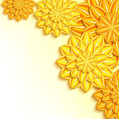 dahlia: El fondo brillante elegante floral con el amarillo, naranja adornó el papel del corte de la dalia de las flores 3d. Hermoso y lujoso fondo de pantalla. Elegante saludo o tarjeta de invitación para bodas, cumpleaños y eventos de la vida. Ilustración vectorial
