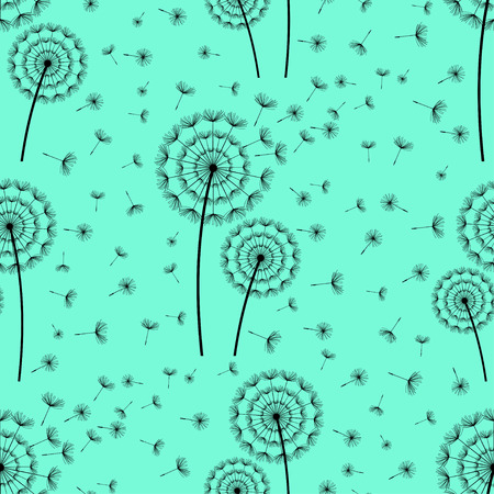 blue dandelion: Beautiful bright green - blue seamless pattern with black stylized dandelion and flying fluff. Floral background with summer or spring flowers. Stylish trendy nature wallpaper. Vector illustration