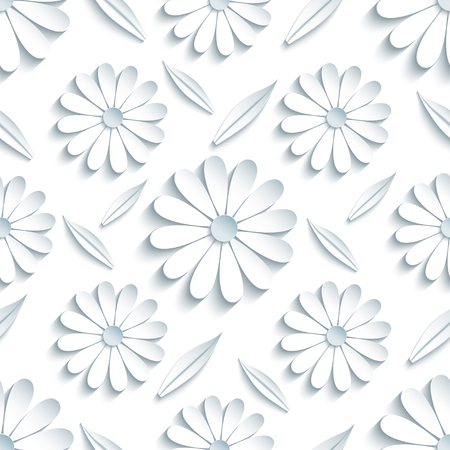 cutting: Beautiful modern light background seamless pattern with white 3d flower chamomiles and leaves cutting paper. Floral trendy creative wallpaper. Stylish nature backdrop. Vector illustration