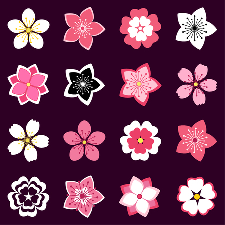 Set of beautiful stylized pink, white sakura blossom - japanese cherry tree. Stylish spring or summer flowers isolated on black background. Modern floral design elements, icons. Vector illustration Ilustracja