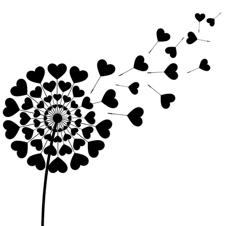 Beautiful stylized black dandelion blowing isolated on white background. Floral stylish trendy wallpaper with summer or spring flower and flying fluff heart shaped. Modern love backdrop. Vector illustration. Illustration