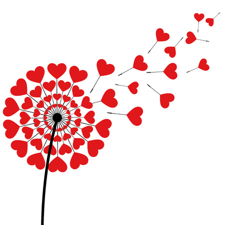 Beautiful stylized black dandelion blowing isolated on white background. Floral stylish trendy wallpaper with summer or spring flower and red flying fluff heart shaped. Modern love backdrop. Vector illustration.
