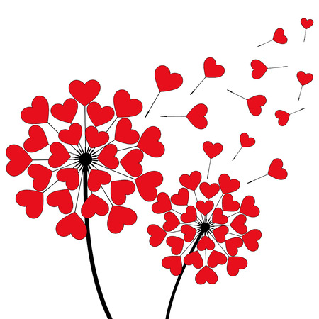 Two beautiful stylized black dandelions blowing isolated on white background. Floral stylish trendy wallpaper with spring, summer flowers and red flying fluff heart shaped.
