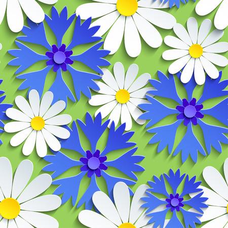Schönes modernes nahtloses Hintergrundmuster, weiße 3D-Blumenkamillen und blaue Kornblumen schneiden Papier. Floral trendige helle Tapete. Stilvolle Naturfrühlings- oder Sommerkulisse. Vektor-Illustration