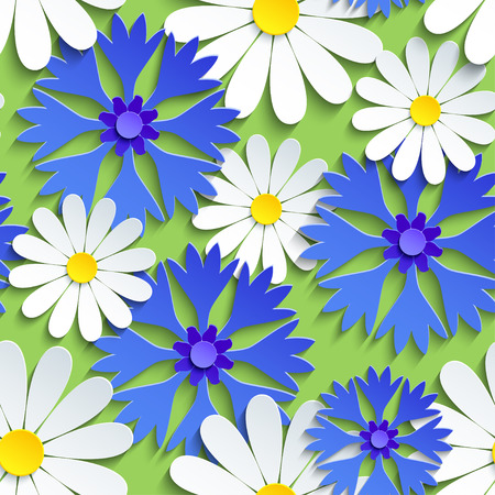 Beautiful modern background seamless pattern, white 3d flowers chamomiles and blue cornflowers cut paper. Floral trendy bright wallpaper. Stylish nature spring or summer backdrop. Vector illustration