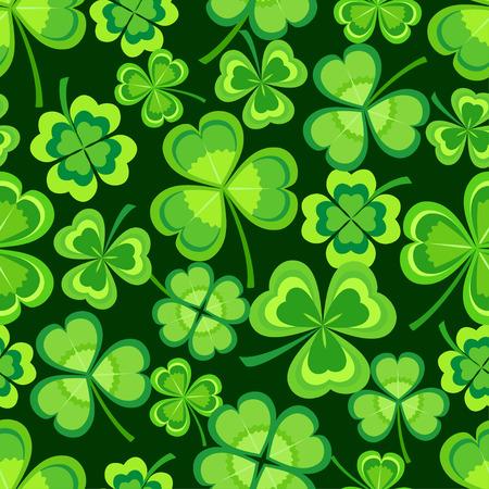 Bella elegante st. Modello senza cuciture del giorno di San Patrizio con trifoglio stilizzato verde foglia su sfondo scuro. Sfondo della natura primaverile con trifoglio. Carta da parati moderna alla moda floreale. Illustrazione vettoriale