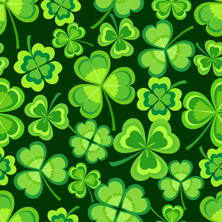 Beautiful stylish st. Patrick's day seamless pattern with green stylized leaf clover on dark background. Spring nature backdrop with shamrock. Floral trendy modern wallpaper. Vector illustration