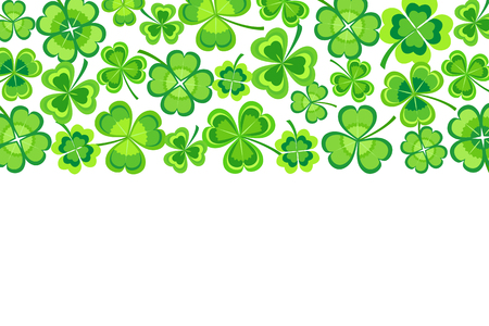 Beautiful st. Patricks day card with green stylized leaf clover. Spring nature background with shamrock. Rectangular horizontal frame. Greeting, invitation card. Floral trendy modern wallpaper. Graphic design. Vector illustration