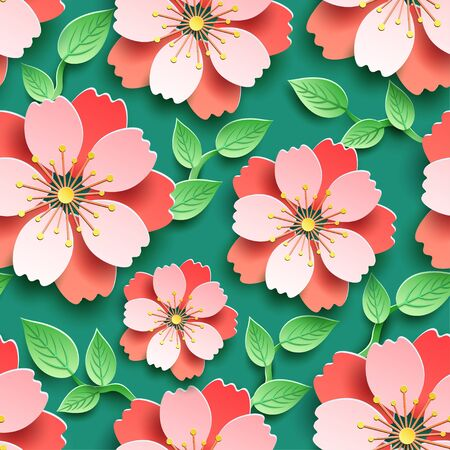 Trendy seamless pattern with branch of sakura cutting paper. Background with decorative pink, red 3d flower and green leaf, japanese cherry tree blossom. Floral stylish modern wallpaper. Paper art style. Graphic design. Vector illustration Illustration