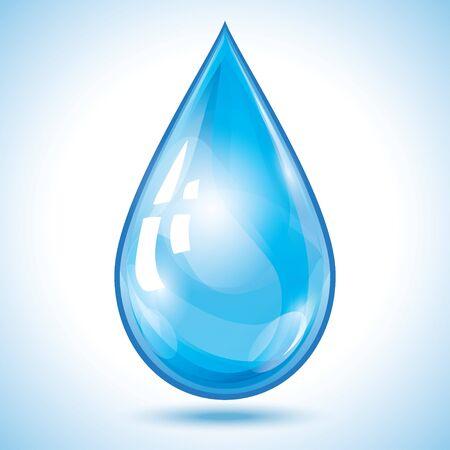 Goccia d'acqua 3d trasparente incandescente blu isolata su bianco