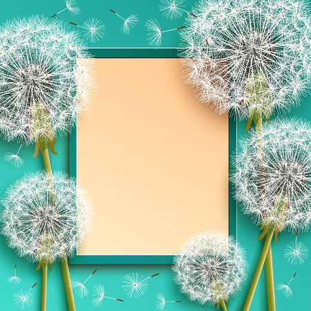 Trendy restangular frame with 3d dandelions blowing. Beautiful floral background. Floral stylish modern wallpaper with summer or spring flowers and flying fluff. Graphic design. Vector illustration Çizim