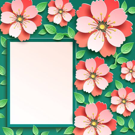 Beautiful floral trendy romantic frame with pink 3d sakura blossom and green leaves cut paper, japanese cherry tree. Stylish modern festive background, graphic design. Greeting, invitation card for Wedding, Birthday, Mothers day, Womens day, anniversary