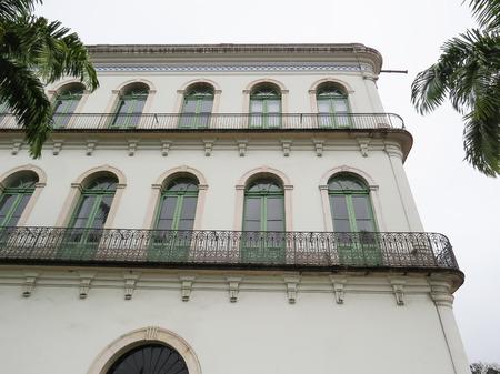 July 22, 2018, Santos, São Paulo, Brazil, Valongo mansion in the historic center, current Pelé Museum. Side view of restored windows.