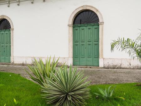 July 22, 2018, Santos, São Paulo, Brazil, Casarão Valongos old side door, in the historical center of the city.