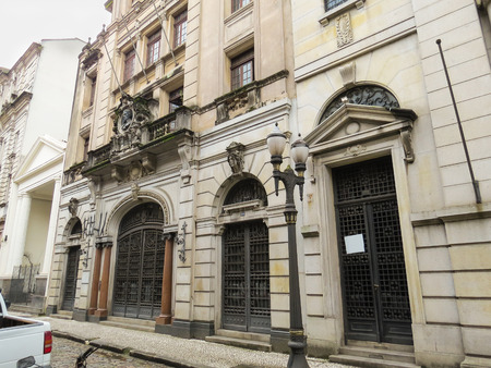 July 22, 2018, Santos, São Paulo, Brazil, Mansion of the historical center of the time of the coffee cycle.